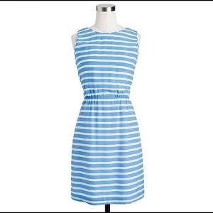 J Crew sleeveless blue/white strip dress